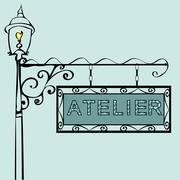 Atelier retro vintage street sign - stock illustration