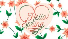 Hello Spring letter decorating with leaf and flower, Spring Season, lettering - stock illustration
