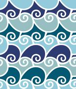 Illustrator colorful wave sea vector seamless pattern - stock illustration