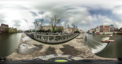 City on a River Video 360 vr Little Planet Video Embankment Bridge Vintage Stock Footage