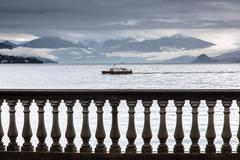 Balustrade, Lake Maggiore, Piedmont, Lombardy, Italy - stock photo