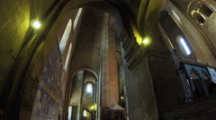 Crystal chandelier in Georgian church Stock Footage