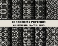 Vector set of geometric seamless patterns for design Stock Illustration