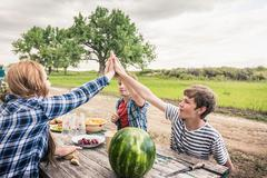 Young woman and friends giving high five at picnic table Stock Photos