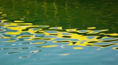 Abstract water reflections (blue-yellow-green) from yellow boat Stock Footage