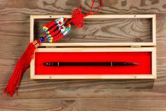 Chinese calligraphy brush in box - stock photo