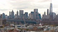 Williamsburg bridge and Manhattan. Camera is filming no movement panorama. Stock Footage