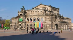 Theaterplatz and Semperoper Opera House in Dresden Stock Footage