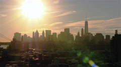 Aerial Panoramic view of New York skyline at sunset. Filming from right to left - stock footage