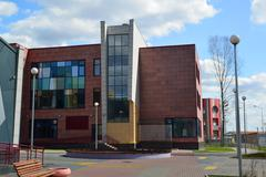 Moscow, Russia-April 24.2016. New City School in 23 district of Zelenograd - stock photo