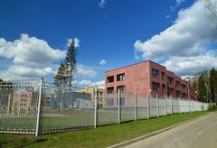 Moscow, Russia-April 24.2016. New City School in 23 district of Zelenograd Stock Photos