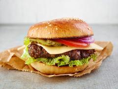 Classic cheeseburger Stock Photos