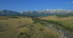 Flying over the River. Mountains of Altai, Siberia. Kurai Steppe Stock Footage