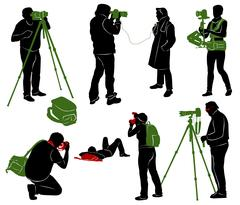 Silhouettes of photographers, cameraman and journalist. - stock illustration