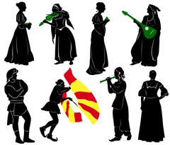 Silhouettes of people in medieval costumes. Musicians, jugglers, a merchant. - stock illustration