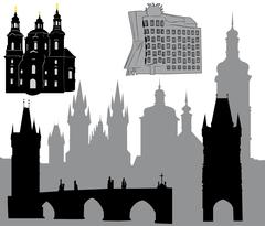 Silhouettes of famous buildings and landmarks of Prague - stock illustration