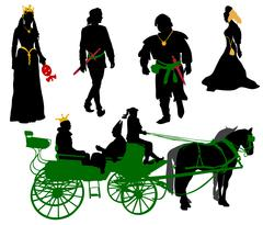 Silhouettes of people in medieval costumes. Queen, jester, citizen and more. Stock Illustration