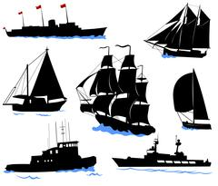 Silhouettes of offshore ships - yacht, fishing boat, the warship. - stock illustration