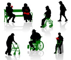 Silhouette of old and disabled people. - stock illustration