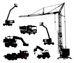 Detailed silhouettes of construction machinery. - stock illustration