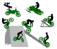 Stunt show on a motorcycle and snowmobile. Silhouette of stunt man Stock Illustration