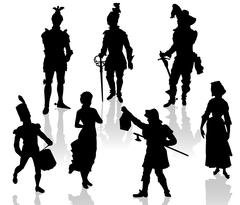 Silhouettes of the actors in theatrical costumes. - stock illustration