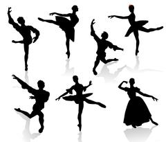 Silhouettes of ballerinas and dancer in movement on a white background - stock illustration