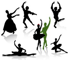 Silhouettes of ballerinas and dancer in movement on a white background Stock Illustration