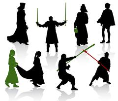 Silhouettes of people in medieval costumes. Knight, warrior, herald, princess. - stock illustration