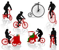 Silhouettes of people on bicycles. Modern and historic bikes Stock Illustration