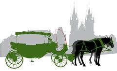 Silhouette of a carriage in Old Town Square in Prague. Stock Illustration