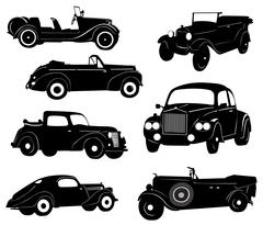 Silhouettes of antique collector cars - stock illustration