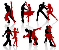 Silhouettes of the pairs dancing ballroom dances. Tango, step. - stock illustration
