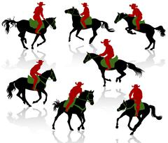 Silhouettes of cowboys on horseback. Multiplay layer set. - stock illustration