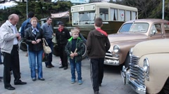 Old vintage cars exhibition - stock footage