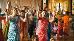 Donetsk, Ukraine -Devotees from Hare Krishna Dancing - stock footage