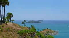 Ocean panorama with boats and coastline, Thailand Stock Footage