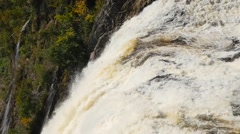 Panning down the Montmorency waterfalls in Quebec City Stock Footage