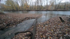 A river in Autumn with fall leaves - stock footage