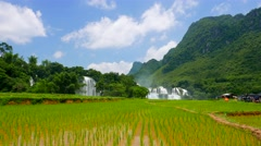 Ban Gioc Waterfall with rice field. 4K resolution speed up. Vietnam Stock Footage