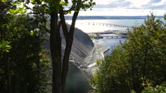 Overlooking the base of the Montmorency Falls in Quebec City Stock Footage