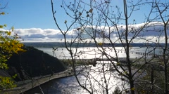 Overlooking a bridge going across the Saint Lawrence River from Quebec City Stock Footage