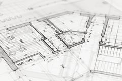 architecture blueprint -  house plan - stock photo