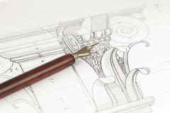 vintage fountain pen & architectural drawing - detail column - stock photo