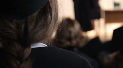 Female student applauding to professor speaking at seminar, higher education Stock Footage