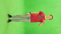 Chromakey. Teen using digital touchscreen terminal - stock footage