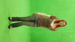Woman sexy dancing on the Green screen, Chromakey. Stock Footage