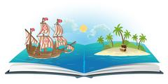 Book about ship and treasure island - stock illustration