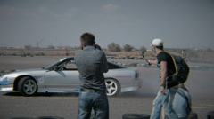 White car drifting on Summer Drift Race making smoke Stock Footage