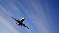 Plane passes overhead - stock footage